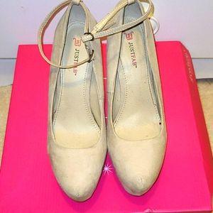 Tan platform heels with strap